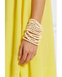 Rosantica - White Guatemala Gold-tone, Bone And Pompom Bracelet - Lyst