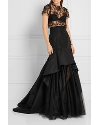 Oscar de la Renta - Black Layered Silk-faille And Tulle Maxi Skirt - Lyst