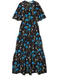 Borgo De Nor - Black Serena Printed Crepe De Chine Midi Dress - Lyst