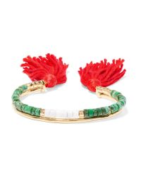 Aurelie Bidermann | Green Sioux Gold-plated, Jasper, Bamboo And Cotton Cuff | Lyst