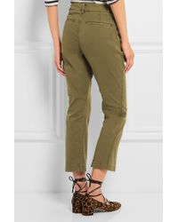 J.Crew - Green Sammie Cropped Stretch Cotton-twill Straight-leg Pants - Lyst