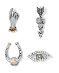Alexander McQueen | Metallic Set Of Four Gold And Silver-plated Multi-stone Brooches | Lyst