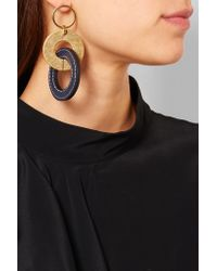Marni - Metallic Gold-tone And Leather Earrings - Lyst