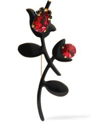 Marni | Black Gold-plated, Enamel And Crystal Brooch | Lyst