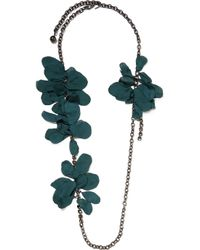 Lanvin | Green Gina Pewter-plated, Swarovski Crystal And Organza Necklace | Lyst