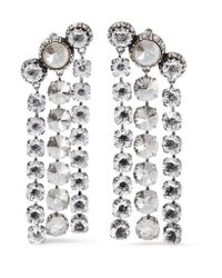 Lanvin - Metallic Silver And Pewter-plated Swarovski Crystal Clip Earrings - Lyst