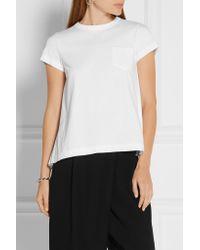 Sacai - Black Pleated Poplin-paneled Cotton-jersey T-shirt - Lyst