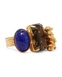 Etro - Blue Gold-plated Crystal Ring - Lyst