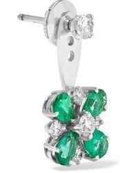 Yvonne Léon - Multicolor 18-karat White Gold, Emerald And Diamond Earring - Lyst