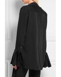 Ellery - Black Little Me Ruffled Stretch Silk-georgette Blouse - Lyst