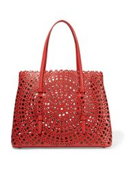 Alaïa - Red Vienne Small Laser-cut Leather Tote - Lyst