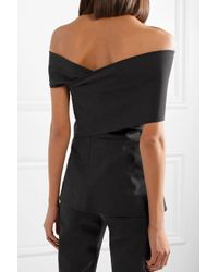 Beaufille - Black Off-the-shoulder Stretch-cotton Twill Top - Lyst