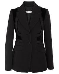 Altuzarra - Black Rome Velvet-paneled Embroidered Wool Blazer - Lyst