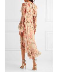 Zimmermann - Multicolor Mercer Floating Ruffled Floral-print Silk-georgette Dress - Lyst