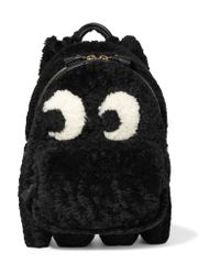 Anya Hindmarch | Black Ghost Leather-trimmed Shearling Backpack | Lyst