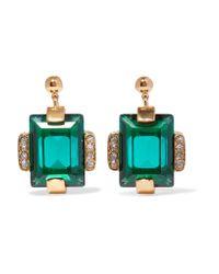 Marni | Metallic Gold-tone Crystal Earrings | Lyst