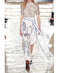 Peter Pilotto - White Embroidered Stretch-crepe Maxi Skirt - Lyst