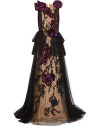 Marchesa | Black Organza-appliquéd Embellished Tulle Gown | Lyst
