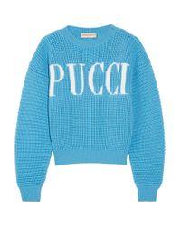 Emilio Pucci | Blue Printed Merino Wool Pullover | Lyst