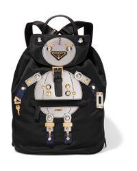 Prada - Black Robot Large Appliquéd Shell And Leather Backpack - Lyst