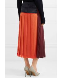 Victoria Beckham - Red Paneled Pleated Georgette Midi Skirt - Lyst