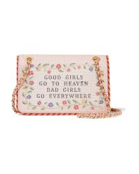 Moschino - Pink Good Girls Go To Heaven Embroidered Leather Shoulder Bag - Lyst