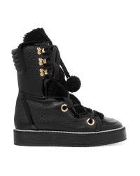 Nicholas Kirkwood | Black Kira Shearling-trimmed Textured-leather Boots | Lyst
