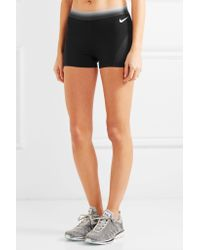 Nike - Black Mesh-paneled Stretch-jersey Shorts - Lyst