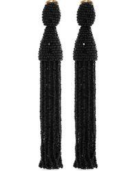 Oscar de la Renta | Black Long Beaded Tassel Earrings | Lyst