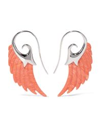 Noor Fares - Multicolor Wing 18-karat White Gold Coral Earrings - Lyst