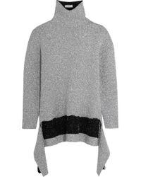 Balenciaga   Gray Asymmetric Metallic Knitted Turtleneck Sweater   Lyst