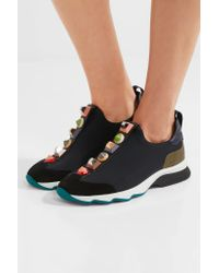 Fendi - Black Embellished Suede And Lizard-effect Leather-trimmed Neoprene Sneakers - Lyst