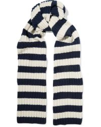 J.Crew | Blue Striped Ribbed Cashmere Scarf | Lyst