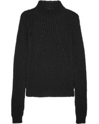 Rick Owens | Black Ribbed Cotton Sweater | Lyst