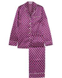 Olivia Von Halle | Purple Lila Printed Silk-satin Pajama Set | Lyst