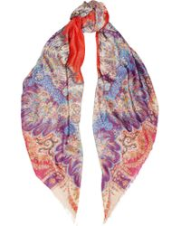 Etro | Multicolor Metallic Paisley-print Modal-blend Scarf | Lyst