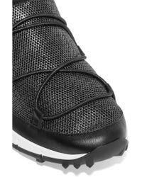 Jimmy Choo | Black Andrea Leather-trimmed Metallic Mesh Slip-on Sneakers | Lyst