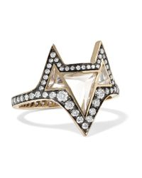 Noor Fares | Metallic Hava 18-karat Gold, Topaz And Diamond Ring | Lyst