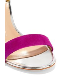 Giuseppe Zanotti | Multicolor Mirrored Leather-trimmed Suede Sandals | Lyst