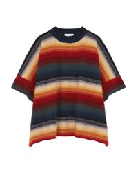 Chloé - Blue Merino Wool And Cashmere-blend Poncho - Lyst