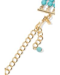 Kenneth Jay Lane | Blue Gold-plated Beaded Necklace | Lyst