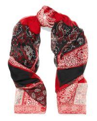 Alexander McQueen | Red Patchwork Printed Silk-chiffon Scarf | Lyst