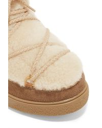 Moncler - Multicolor New Fanny Shearling-paneled Suede Snow Boots - Lyst