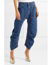 Stella McCartney - Blue Cropped Ruched Jeans - Lyst