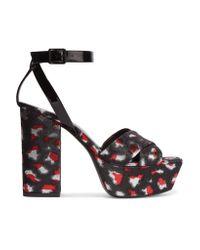 Saint Laurent | Black Farrah Metallic Leopard-jacquard Platform Sandals | Lyst