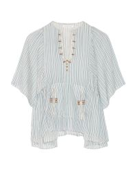 Étoile Isabel Marant | Blue Joy Embroidered Striped Cotton Top | Lyst