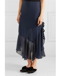 Figue - Maxime Pompom-embellished Silk-georgette Skirt Midnight Blue - Lyst