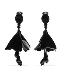 Oscar de la Renta | Black Mini Impatiens Beaded Clip Earrings | Lyst