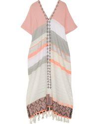Lemlem - Multicolor Safia Fringed Embroidered Cotton-blend Gauze Kaftan - Lyst