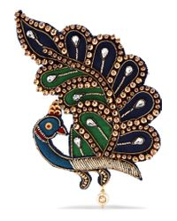 Gucci - Blue Satin, Crystal And Acetate Brooch - Lyst
